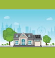 private suburban smart home with sun solar module vector image