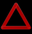 red reflective warning triangle emergency sign vector image vector image