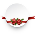 round christmas background with red ribbon vector image vector image