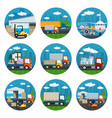 set of warehouse and transportation services icons vector image