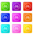 sign bike icons 9 set vector image vector image