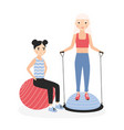 smiling mother and daughter performing aerobics vector image vector image