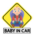 sticker baby in the car a small child sitting in vector image