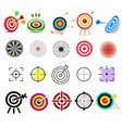 target icon arrow in aim of dartboard and vector image