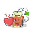 tea bag character cartoon with heart vector image vector image