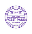 usa country visa stamp on passport vector image vector image