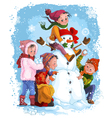 winter games children snowman christmas vacation vector image