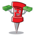 with money red pin character cartoon vector image