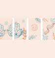 yoga social media stories layout set vector image vector image