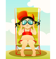 young girl in sunglasses vector image vector image