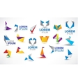 colorful origami icon set Design elements vector image