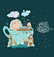 cute little baby girl in the cup of tea vector image
