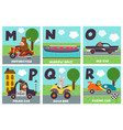 alphabet card with transport and animals m to r