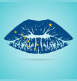 alaska flag lipstick on the lips isolated on a vector image