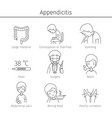 appendicitis symptoms icons set vector image vector image