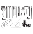 art and drawing supplies black and white set vector image