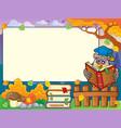 autumn frame with owl teacher 4 vector image