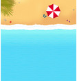 beach with waves and red umbrella vector image vector image