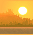 big arab city by sea at sunset vector image vector image
