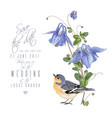 blue flower bird card vector image vector image