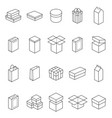 boxes thin line icon set vector image vector image