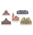 bulgaria architecture monuments set in thin line vector image