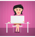 Business Woman With Computer on Pink Purple vector image vector image