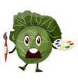 cabbage is holding a brush and color palette on vector image vector image