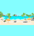 cartoon tropical beach summer landscape background vector image vector image