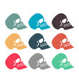 colored skull set multicolored skeleton head vector image vector image