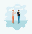couple of men using smartphone vector image vector image