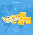 crypto currency bitcoin banknotes and coins vector image