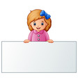 cute little girl behind blank sign vector image vector image
