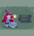 cute witch making potion in pot happy halloween vector image