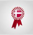 denmark flag ribbon banner badge vector image