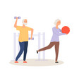 elderly active life old people training vector image vector image
