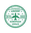 european union visa stamp on passport vector image vector image
