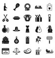 family meeting icons set simple style vector image vector image