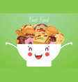 fast food and snacks in cute funny smiling kawaii vector image