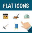 flat icon garden set of lawn mower container vector image vector image