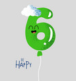 funny happy birthday gift card number 6 balloon vector image vector image