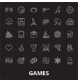 games editable line icons set on black vector image vector image