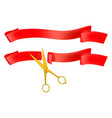 grand opening golden scissors and red ribbon vector image