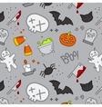 Halloween flat pattern skull color vector image vector image