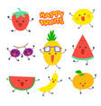 happy fruits character sticker vector image