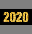 happy new year gold number 2020 bright golden vector image