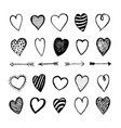heart icons hand drawn set for valentines day vector image vector image