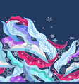 leaves in snowflakes vector image vector image