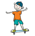 little boy learning how to ride skateboard vector image