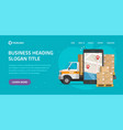 logistic cargo mobile courier online website vector image vector image
